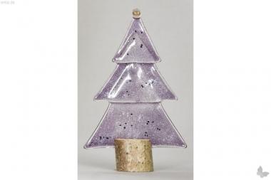 Weihnachtsdeko Kleine Tischtanne aus lila Glas