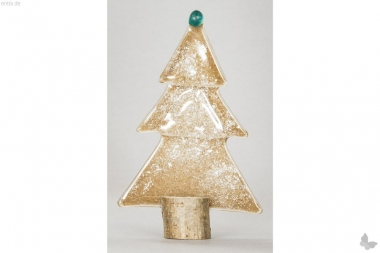 Weihnachtsdeko Kleine Tischtanne aus sandfarbenem Glas