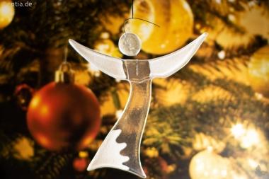 Christbaum-Schmuck Engel aus grauem Glas