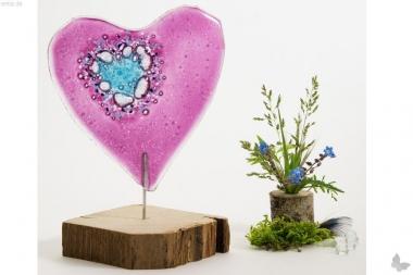 Kleines rosa-farbenes Glasherz, Variante 1