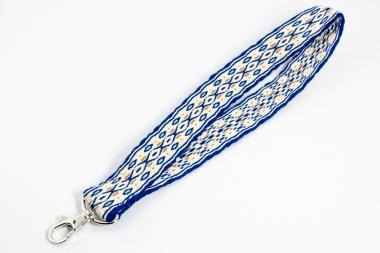 Handgewebtes Schlüsselband, blau