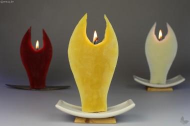 Engelkerze gelb mit Keramikhalter