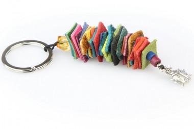 Schlüsselanhänger Leder Mosaik