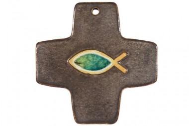 Kreuz mit Fisch, Steinzeugkeramik, bronze