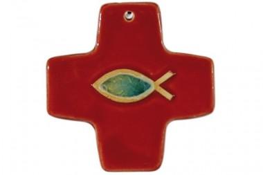 Kreuz mit Fisch, Steinzeugkeramik,rot