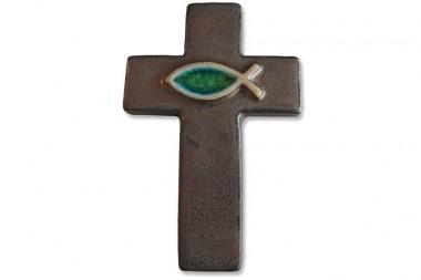Lateinisches Kreuz mit Fisch, Steinzeugkeramik, bronze