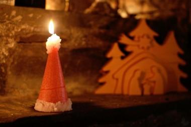 Kerze Nikolausmütze, marmoriert