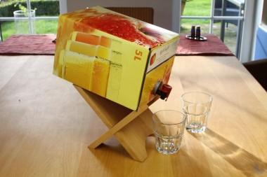 Bag-in-Box-Ständer für Wein und Saft, Leimholz