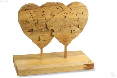 Deko-Puzzle Zwei Herzen