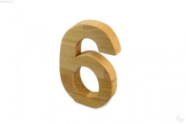 Holz-Ziffer Sechs
