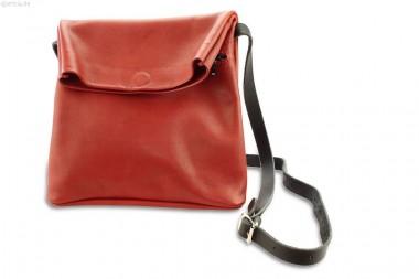 Damen-Ledertasche rot mit Klapp-Öffnung