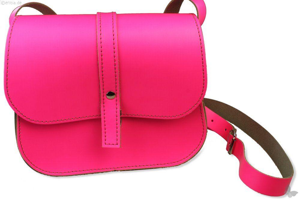 Leder-Kindergartentasche, neon pink