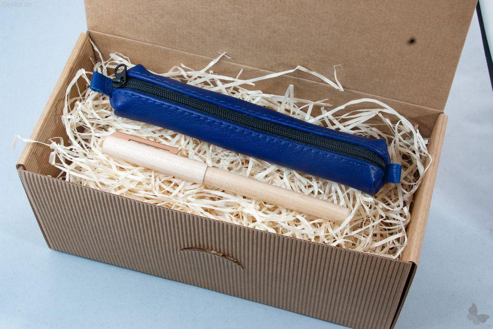 Geschenkset: Ahorn-Füller mit blauem Lederetui