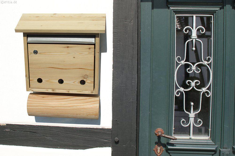 briefkasten mit zeitungsrolle aus l rchenholz. Black Bedroom Furniture Sets. Home Design Ideas