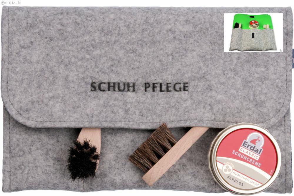 Schuhpflege-Set, innen grün