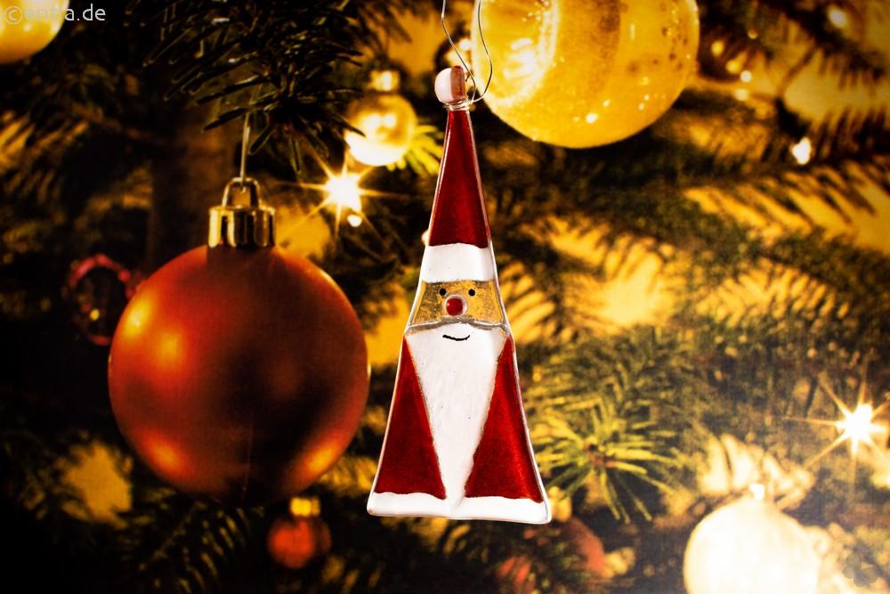 Weihnachtsdeko Nikolaus Glas rot