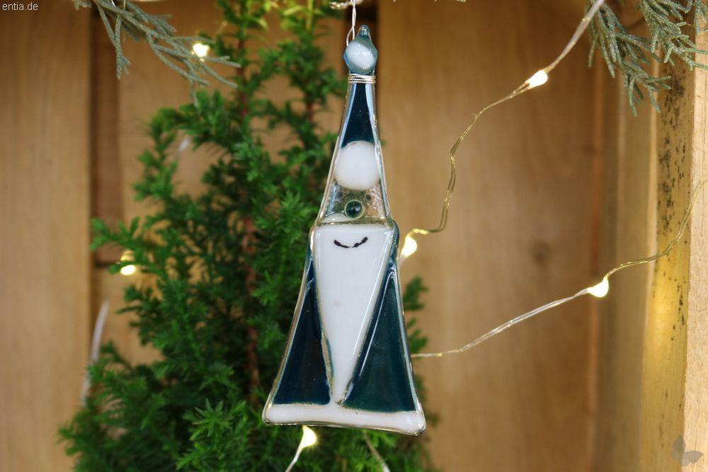 Weihnachtsdeko Nikolaus Glas aquamarin