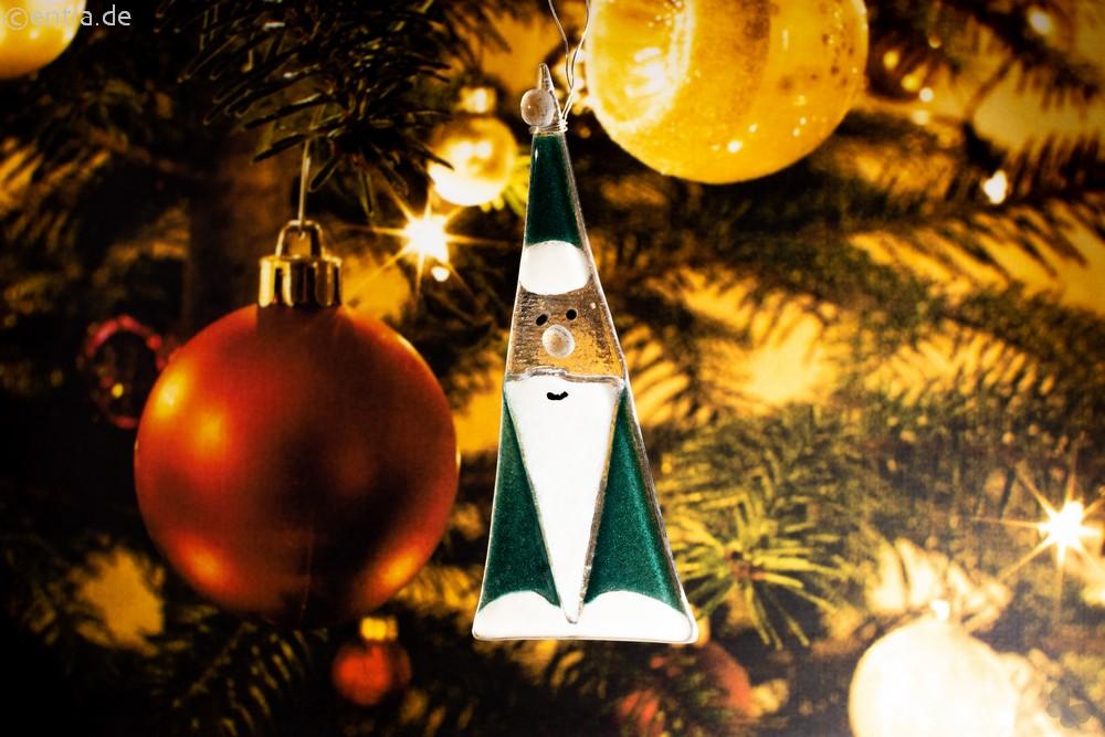 Weihnachtsdeko Nikolaus Glas grün