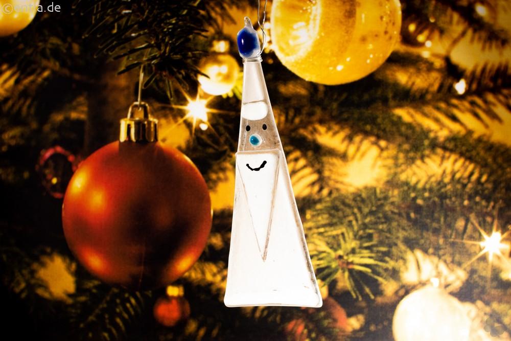 Weihnachtsdeko Nikolaus Glas grau