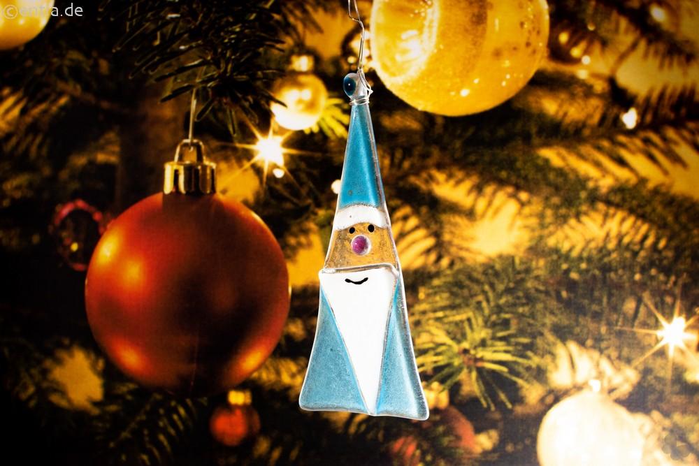 Weihnachtsdeko Nikolaus Glas hellblau