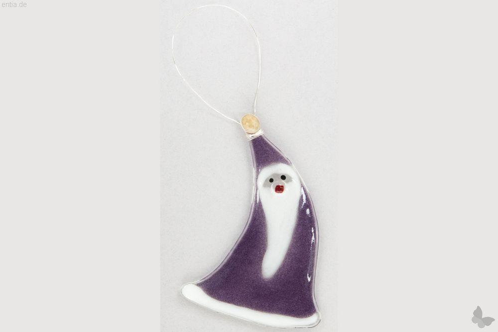 Weihnachtsdeko Nikolaus geschwungen mit lila Glas