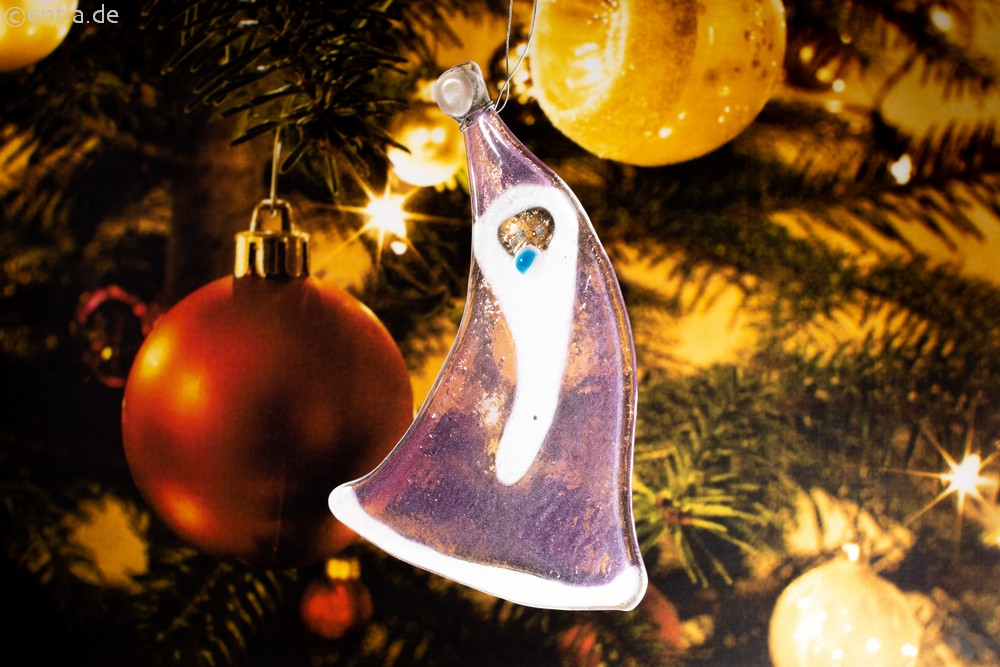Weihnachtsdeko Nikolaus geschwungen mit rosa Glas