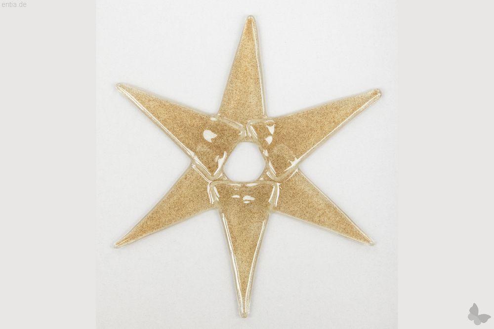 Weihnachtsdeko Stern groß aus sandfarbenem Glas