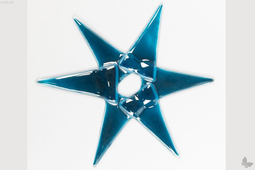 Weihnachtsdeko Stern groß aus aquamarin Glas