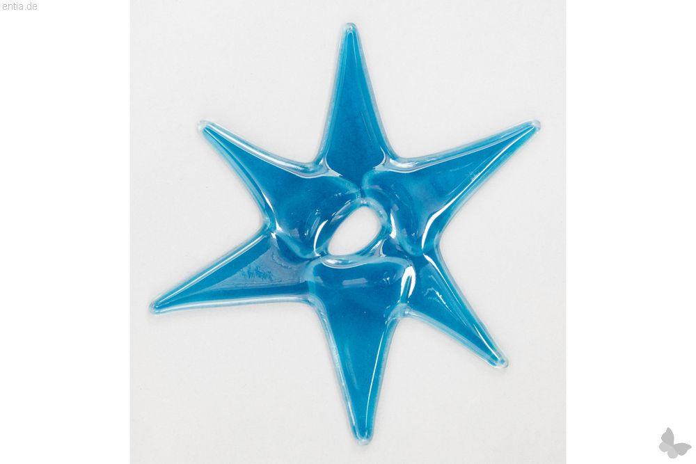Weihnachtsdeko Stern mittel aus hellblauem Glas