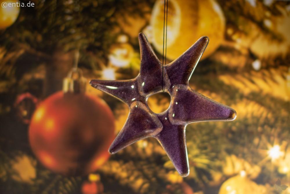 Weihnachtsdeko Stern klein aus lila Glas