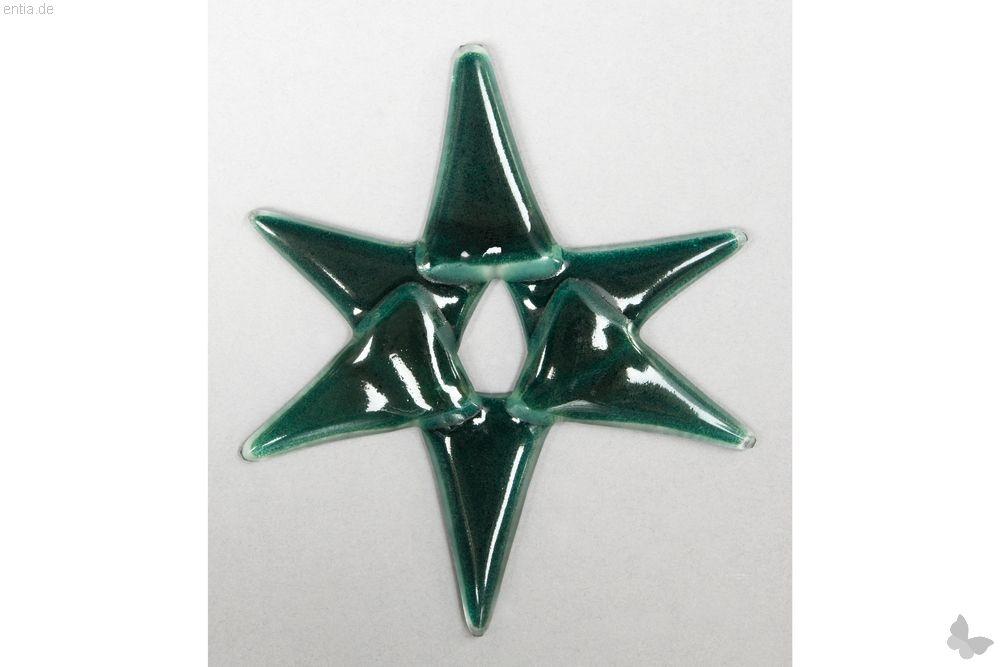 Weihnachtsdeko Stern klein aus grünem Glas