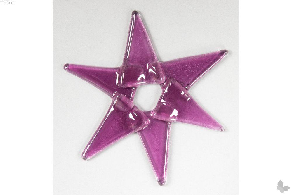 Weihnachtsdeko Stern klein aus rosa Glas