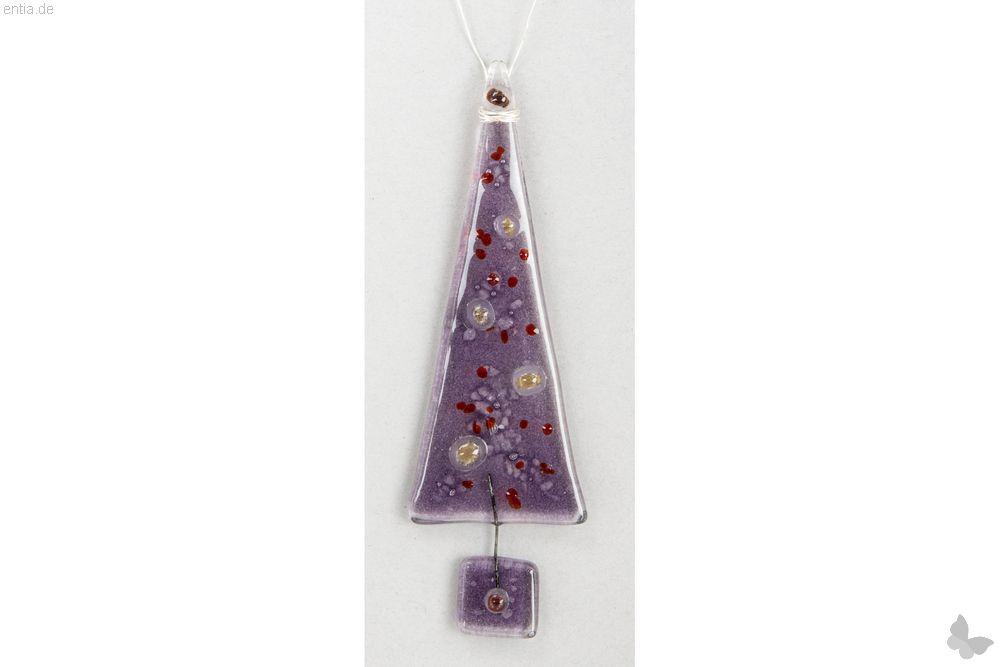 Christbaum-Anhänger Tannenbaum aus lila Glas