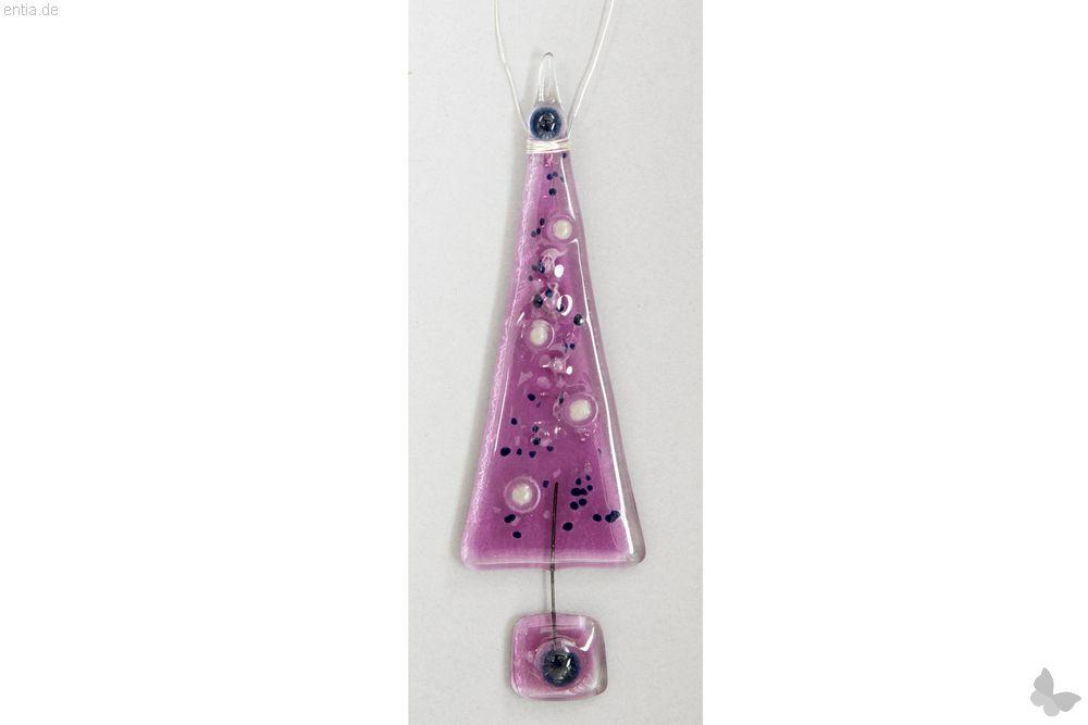 Christbaum-Anhänger Tannenbaum aus rosa Glas
