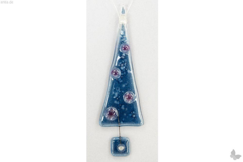 Christbaum-Anhänger Tannenbaum aus dunkelblauem Glas