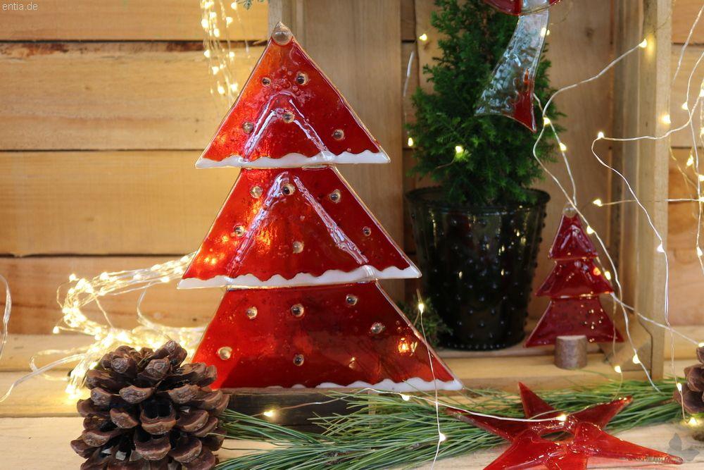 Weihnachtsdeko Für Gastronomie.Weihnachtsdeko Tischtanne Aus Rotem Glas Nachhaltiges Aus Sozialen