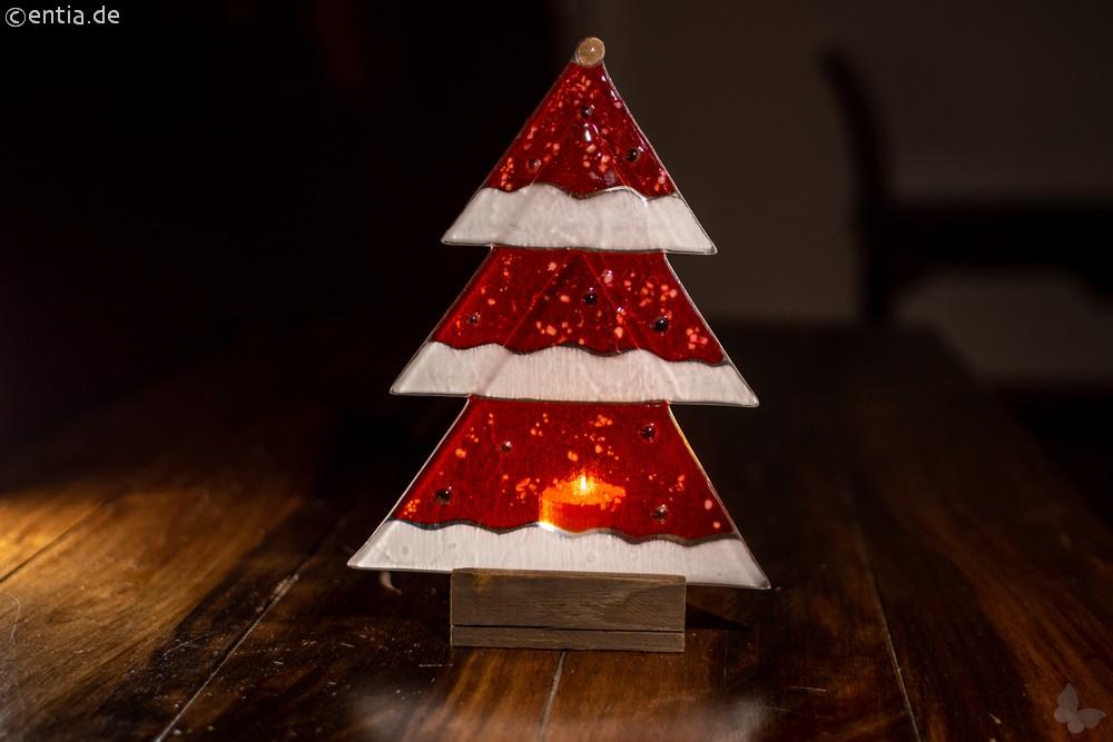 Weihnachtsdeko Tischtanne aus rotem Glas