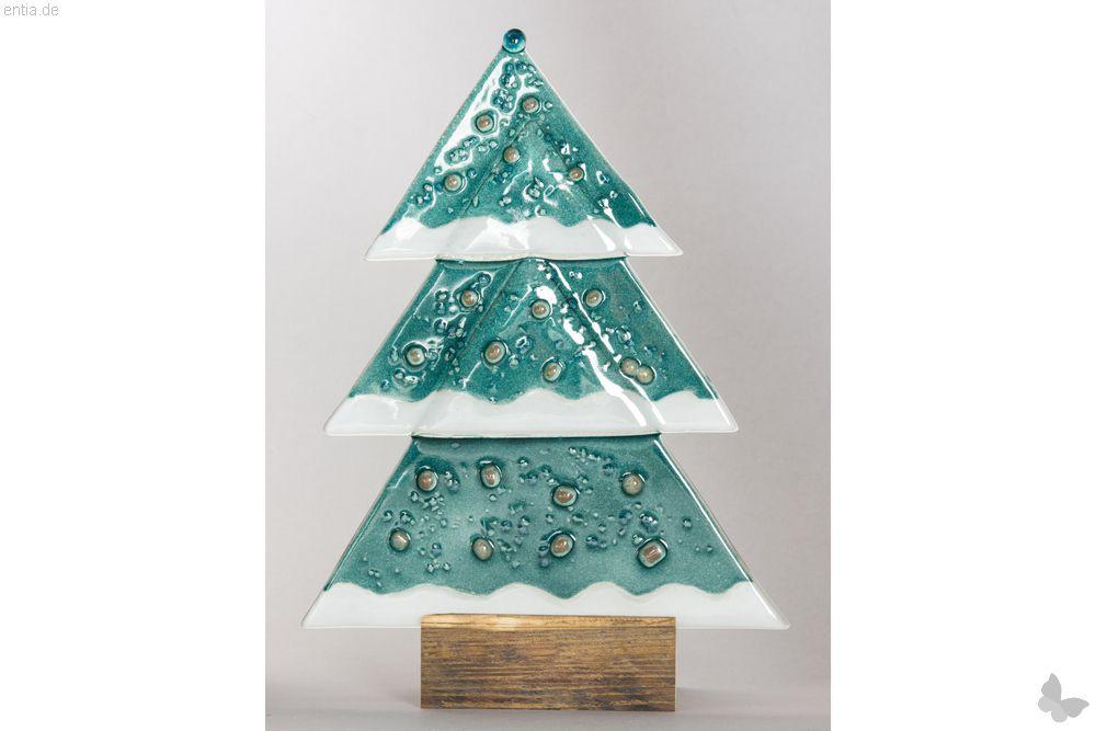 Weihnachtsdeko Tischtanne aus grünem Glas
