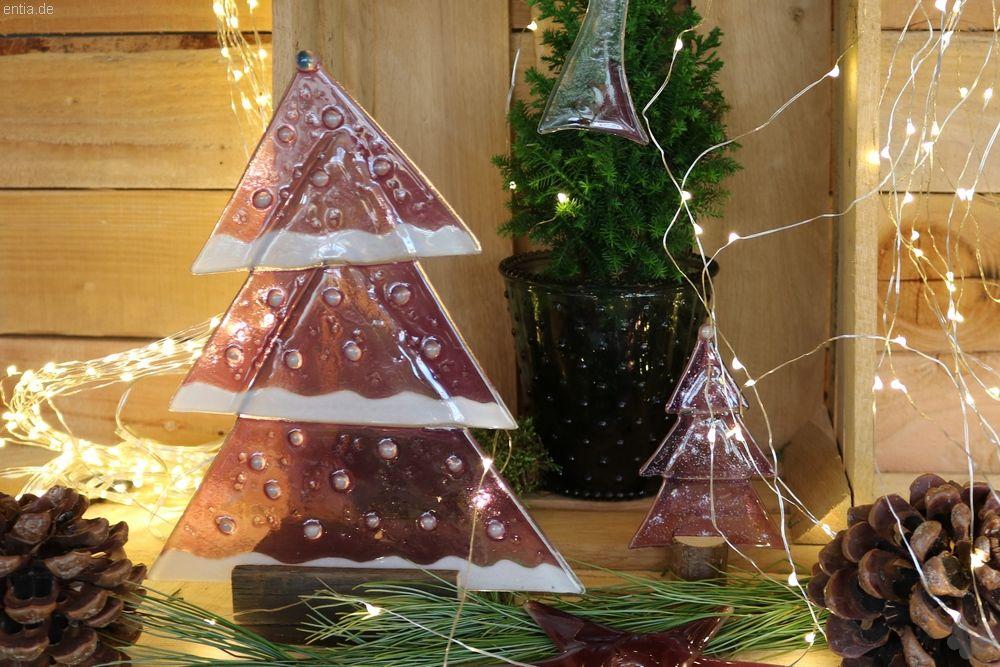 Weihnachtsdeko Tischtanne aus rosa Glas