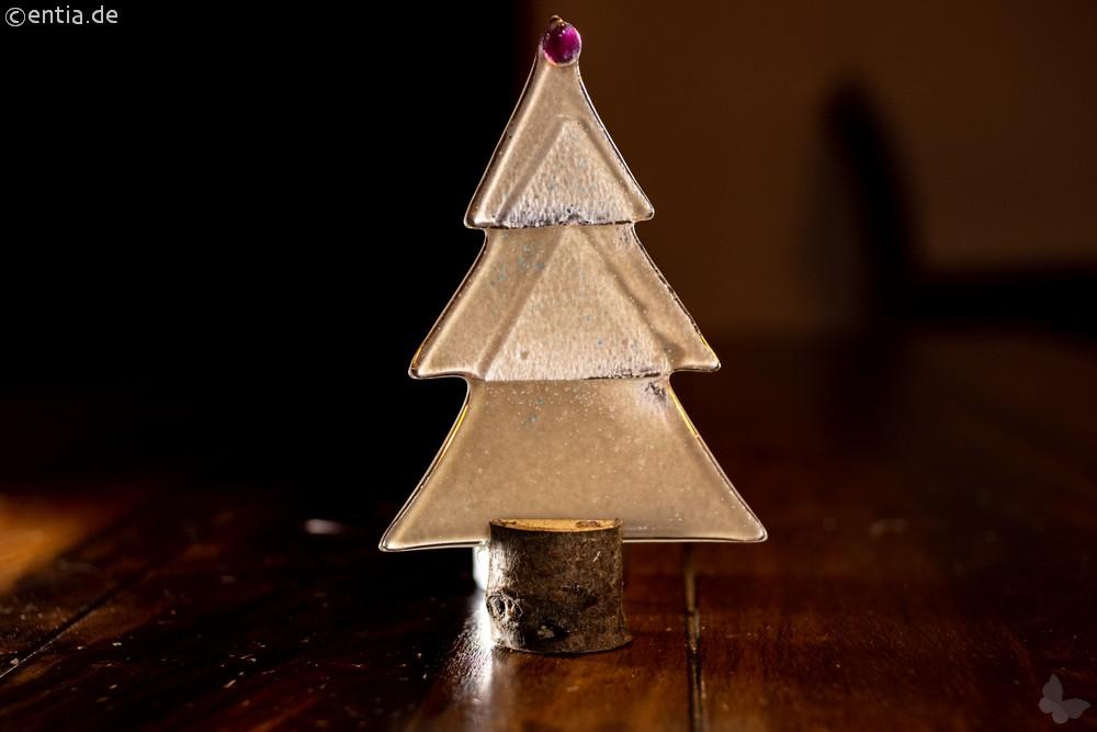 Weihnachtsdeko Kleine Tischtanne aus grauem Glas