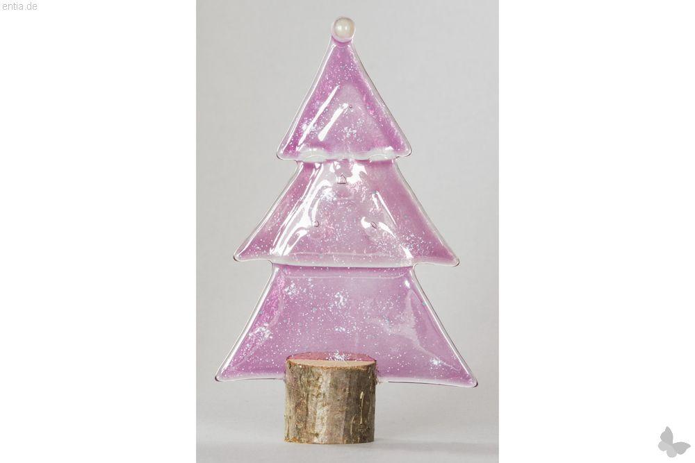 Weihnachtsdeko Kleine Tischtanne aus rosa Glas