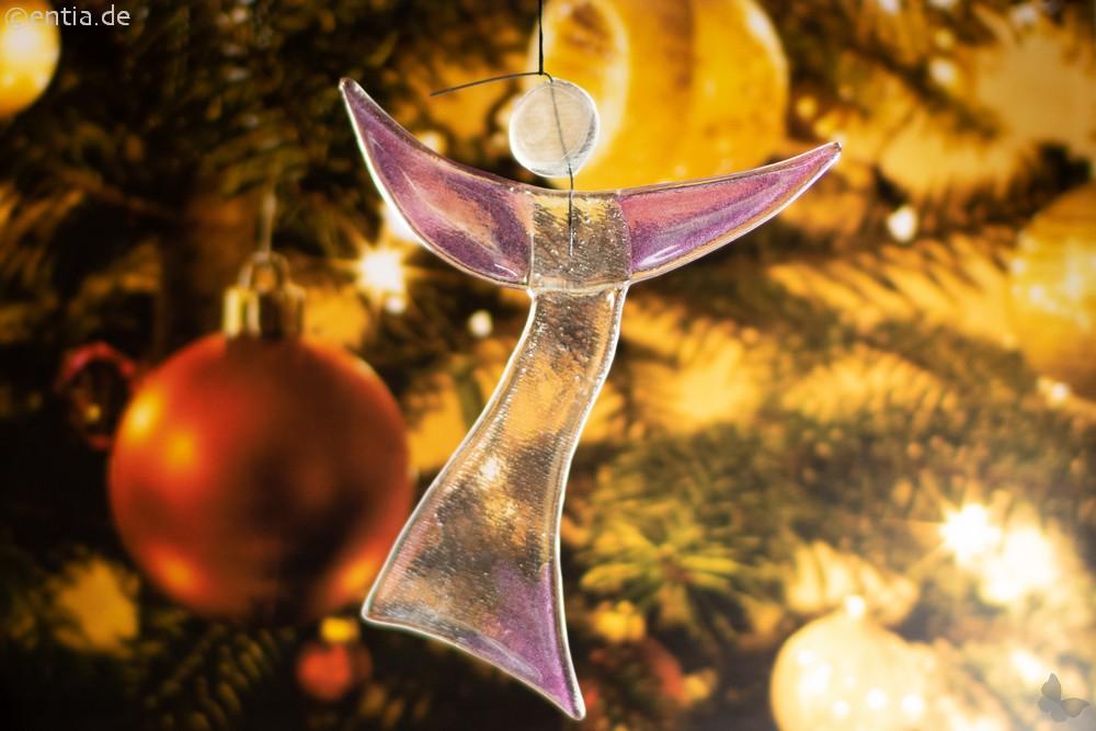 Christbaum-Schmuck Engel aus rosa-farbenem Glas