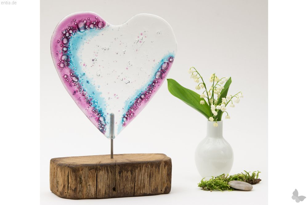Großes rosa-farbenes Glasherz, Variante 2