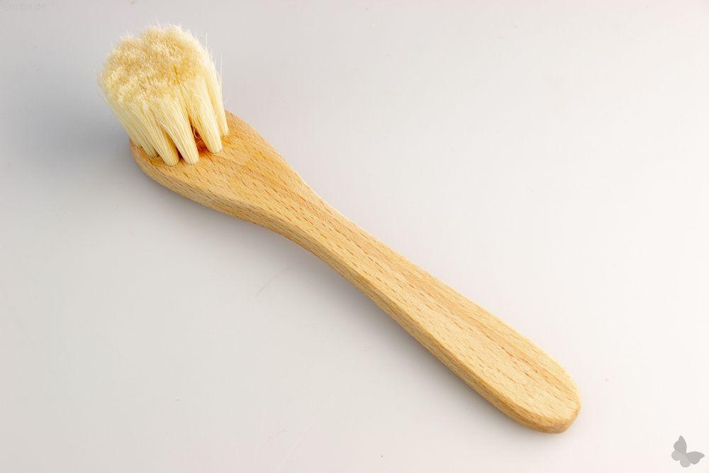 Pilzbürste aus geöltem Holz, mit Stiel